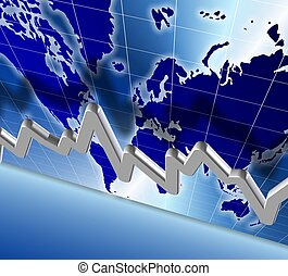world economy chart - 3d illustration of a chart and world...
