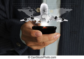 business man hand use mobile phone streaming travel around...