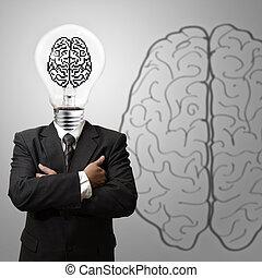 3d pixel brain sign as concept - business man light bulb...