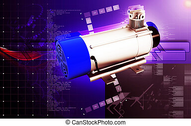 Electric motor - Digital illustration of Electric motor in...