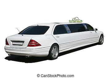 white wedding limousine isolated - Beautiful white wedding...