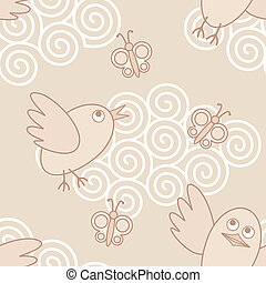 birds-flying - seamless vector pattern with funny flying...