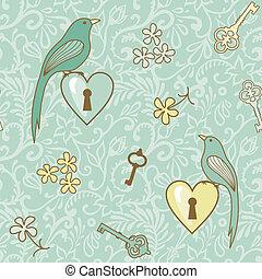 birds-keys-patern - seamless vector pattern with birds,...