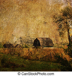 vintage village landscape with shed and tree...