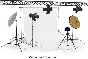 3d empty photo studio interior with equipment on white...