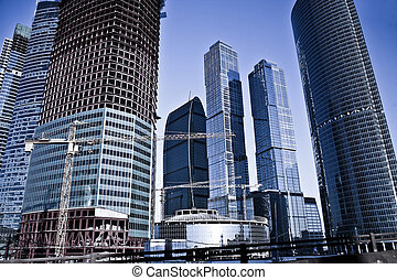 Moscow business centre - Many-storeyed modern buildings of...