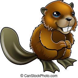 Happy Cartoon Beaver - An illustration of a happy cartoon...