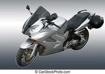 Grey motorcycle - Grey sports motorcycle on a grey...