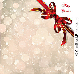 Red bow on a magical Christmas over Vector illustration -...