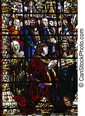 Nativity Scene. Stained glass window in the Lisbon Church