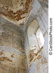 ruins - Interior of the old destroyed brick church