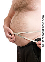Over weight male with measuring tape - Obese male with...