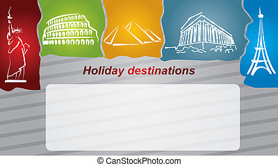 Holiday destination with hand drawing illustrations