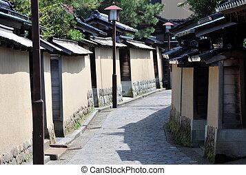 Historic Samurai house street, Kanazawa Japan. Naga-machi...