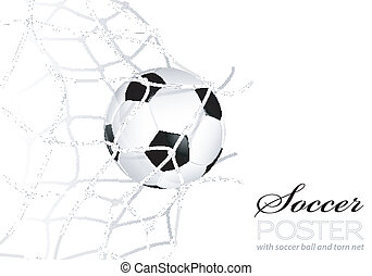 Soccer Ball in Net - Soccer Concept - Goal Soccer Ball in...