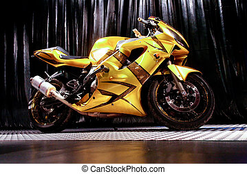 motorcycle on black background - Yellow brilliant motorcycle...