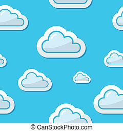 Seamless clouds on blue sky backgro - Vector illustration -...