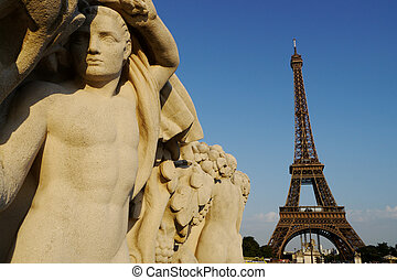 sculpture and eiffel tower