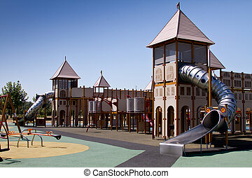 Playground outside with blue sky - Playground play area...
