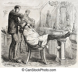 Barber shop - American way of life: old illustration of a...