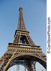 low angle on eiffel tower
