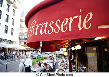 sign reading brasserie in paris - entrance to a restaurant...