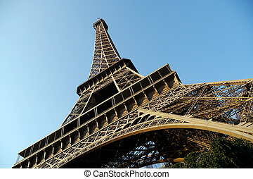 wide angle view of eiffel tower