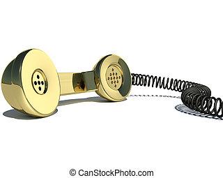 handset gold - Handset gold 3d on a white background