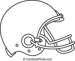 Américain, football, casque, ligne, dessin