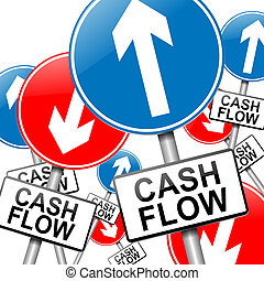 Cash flow concept - Illustration depicting many roadsigns...