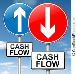 Cash flow concept - Illustration depicting two roadsigns...