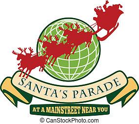 Santa Claus Christmas Globe Reindeer - Retro style...