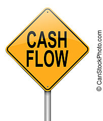 Cash flow concept - Illustration depicting a roadsign with a...