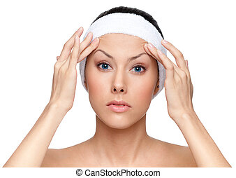 Thinking about plastic surgery, isolated, white background