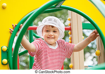 two-year child at playground area - two-year child at...