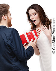 Man surprises his girlfriend with present
