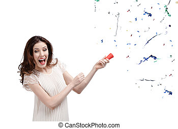 Woman claps firecracker - Woman claps confetti, isolated on...