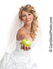 Smiled beauty bride with green apple