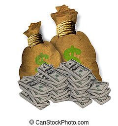 Bags of Cash. - Hundred dollar bills and bags of money.