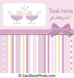 delicate baby twins announcement card