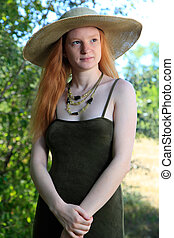 Green Dress - Young Woman With Red Hair Wearing A Sundress...