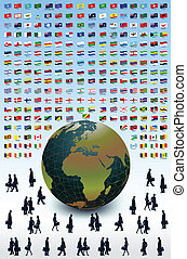 Business Earth, people and flags Vector - People and a large...