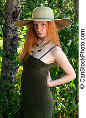 Summer Dress - Young Woman With Red Hair Wearing A Sundress...