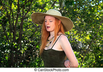 Summer Woman - Young Woman With Red Hair Wearing A Sundress...