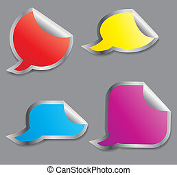 Set of colorful speech bubble stickers different corner and place for your text. vector illustration