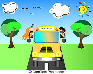 Schoo bus with happy children - School bus with happy...
