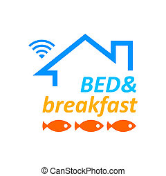 Bed and breakfast - Bed breakfast symbol with Wi-fi access...