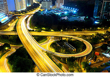 Highway at night in modern city