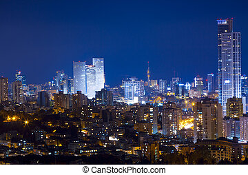 Cityscape - Tel Aviv and Ramat Gan Skyline at night