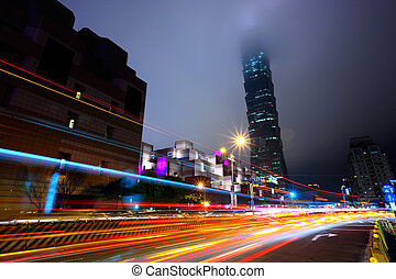 night with lights of traffic in Taipei